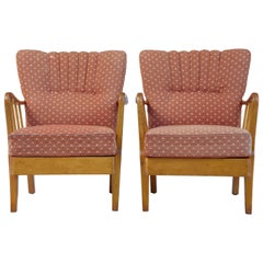 Pair of 1950s Swedish Birch Easy Armchairs