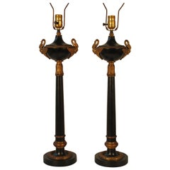 Pair of 1950s Tole Lamps with Brass Accents