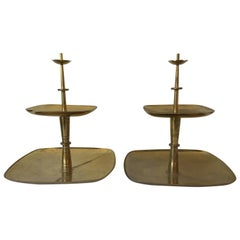 Pair of 1950s Tommi Parzinger for Dorlyn Silversmiths Brass Dessert Trays