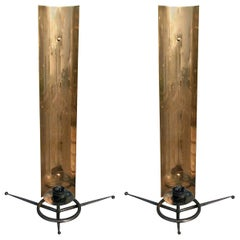 Pair of 1950s Tony Paul Brass and Black Metal Sconces