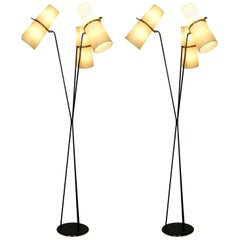 Pair of 1950s Triple Lighting Floor Lamp by Maison Lunel