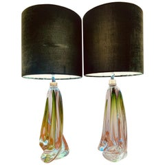 Pair of 1950s Val Saint Lambert Pale Green and Clear Glass Crystal Table Lamps