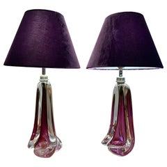 Pair of 1950s Val Saint Lambert Purple Crystal Table Lamps Inc Shades