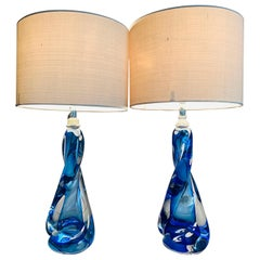 Pair of 1950s Val St Lambert Twisted Blue & Clear Crystal Table Lamps Inc Shades