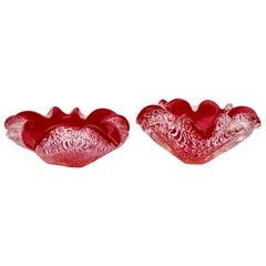 Pair of 1950s Very Intense Red Murano Glass Silver Flecks Ruffled Edge Bowls