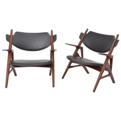 Pair of 1950s Vintage Black Midcentury Chairs