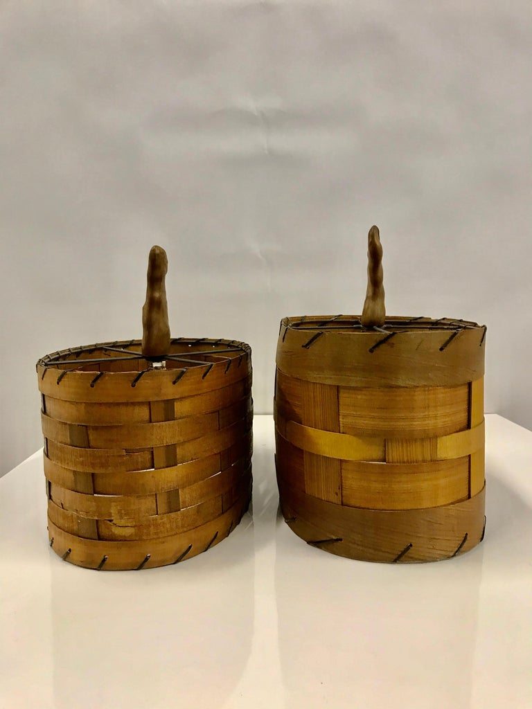 Pair of 1950s Vintage Cypress Knee Lamps with Woven Wood Shades For Sale 3