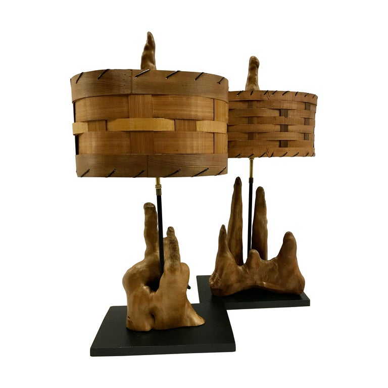 Pair of 1950s Vintage Cypress Knee Lamps with Woven Wood Shades For Sale