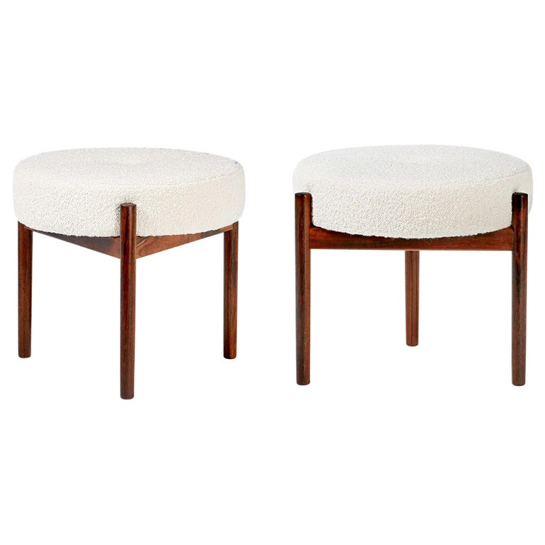 Pair of 1950s Vintage Rosewood and Boucle Ottomans