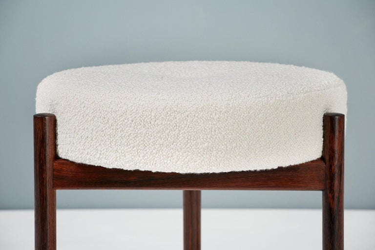 Scandinavian Modern Pair of 1950s Vintage Rosewood and Boucle Ottomans