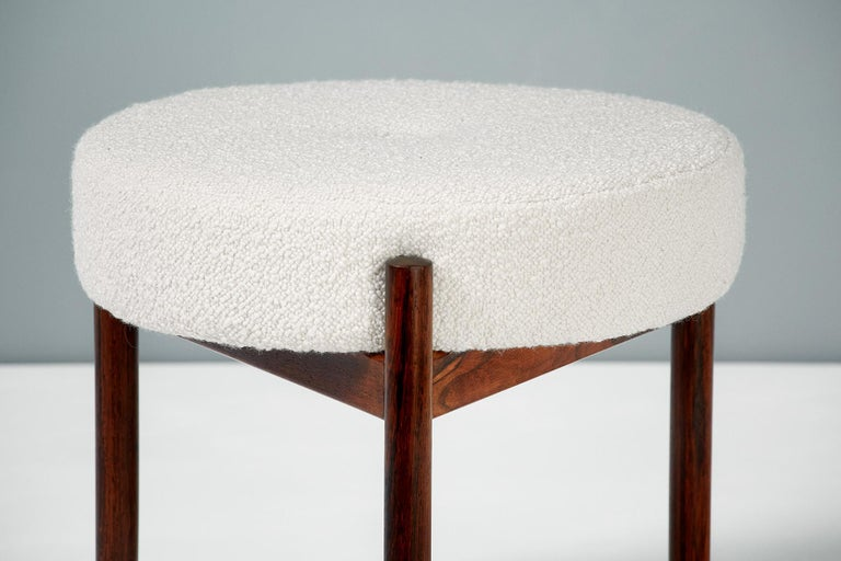 Danish Pair of 1950s Vintage Rosewood and Boucle Ottomans