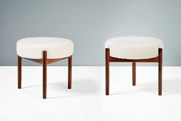 Mid-20th Century Pair of 1950s Vintage Rosewood and Boucle Ottomans