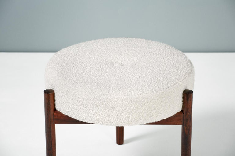 Pair of 1950s Vintage Rosewood and Boucle Ottomans 1