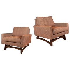 Pair of 1950's Walnut Base Lounge Chairs by Adrian Pearsall for Craft Associates