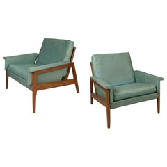 Pair of 1950s Walnut Lounge Chairs