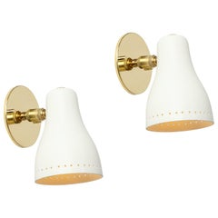 Pair of 1950s White Perforated Sconces Attributed to Jacques Biny