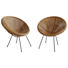 Pair of 1950s Wicker and Iron Frame Pod Capsule Lounge Chairs