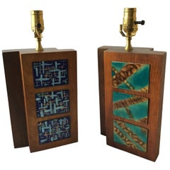 Pair of 1950s Wood Lamps with Enamel Plaques