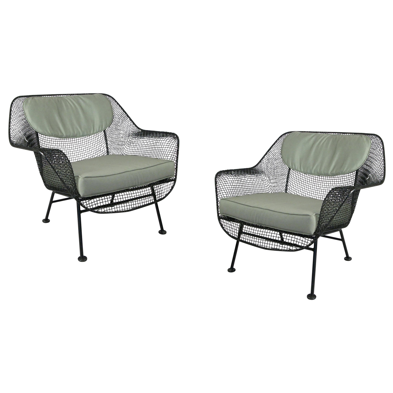 Pair of 1950s Woodard Sculptura Garden Lounge Chairs