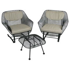 Pair of 1950's Woodard Sculptura Lounge Chairs and Ottoman