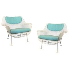 Pair of 1950s Woodard Sculptura Lounge Chairs