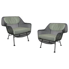 Pair of 1950s Woodard Sculptura Lounge Chairs with Cushions
