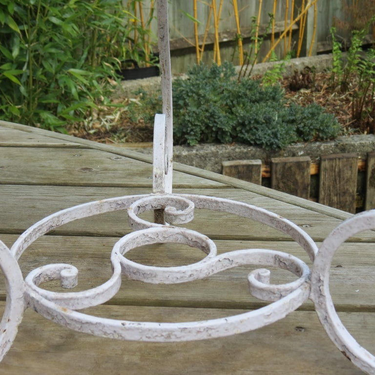 Pair of 1950s Wrought Iron and Glass French Tables Plant Stands For Sale 4