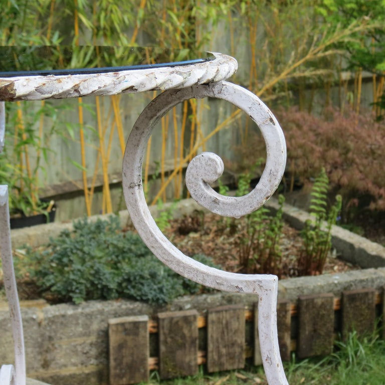 Pair of 1950s Wrought Iron and Glass French Tables Plant Stands For Sale 5