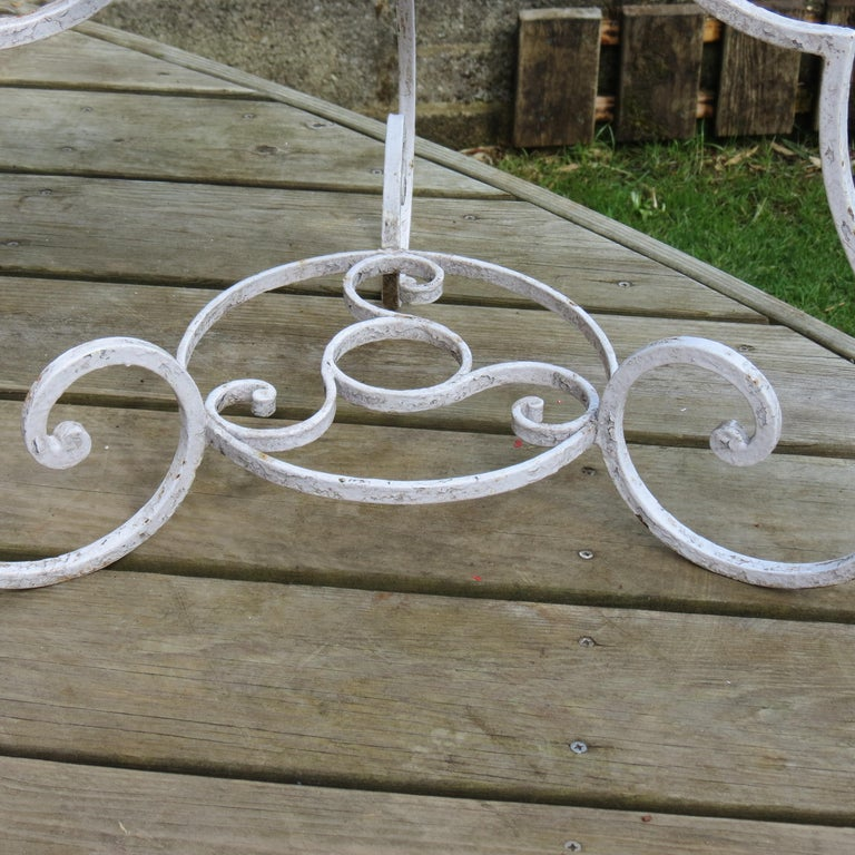 Pair of 1950s Wrought Iron and Glass French Tables Plant Stands For Sale 6