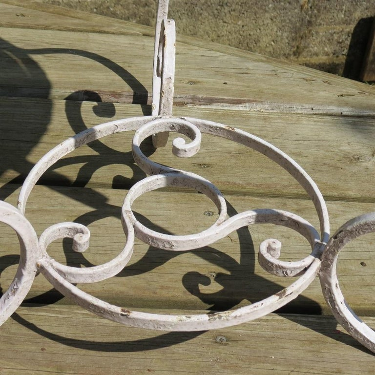 Machine-Made Pair of 1950s Wrought Iron and Glass French Tables Plant Stands For Sale