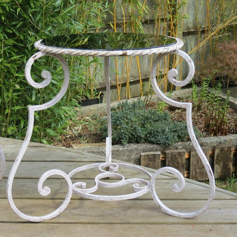 Pair of 1950s Wrought Iron and Glass French Tables Plant Stands For Sale 3