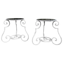 Pair of 1950s Wrought Iron and Glass French Tables Plant Stands