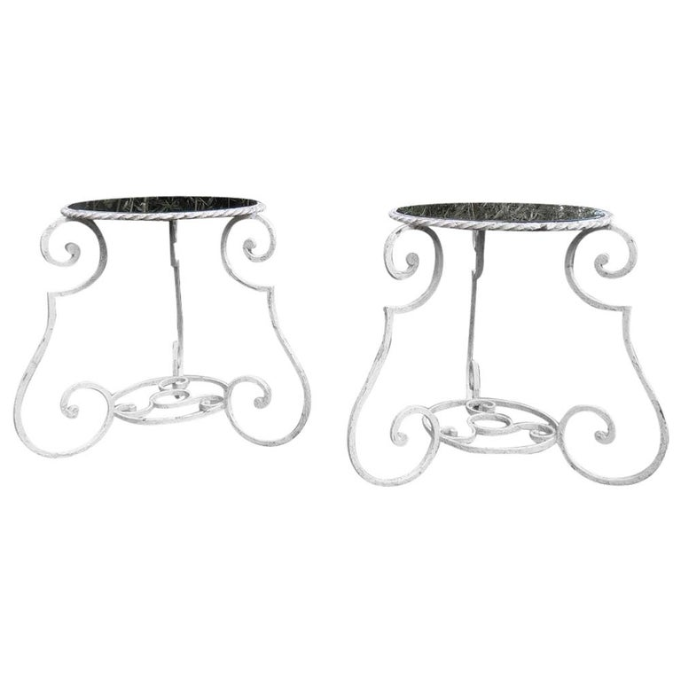 Pair of 1950s Wrought Iron and Glass French Tables Plant Stands For Sale