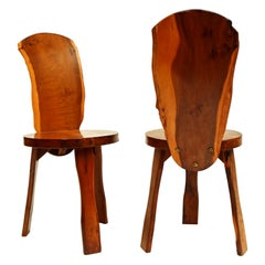 Pair of 1950s Yew Wood British Reynolds of Ludlow Chairs Like Nakashima