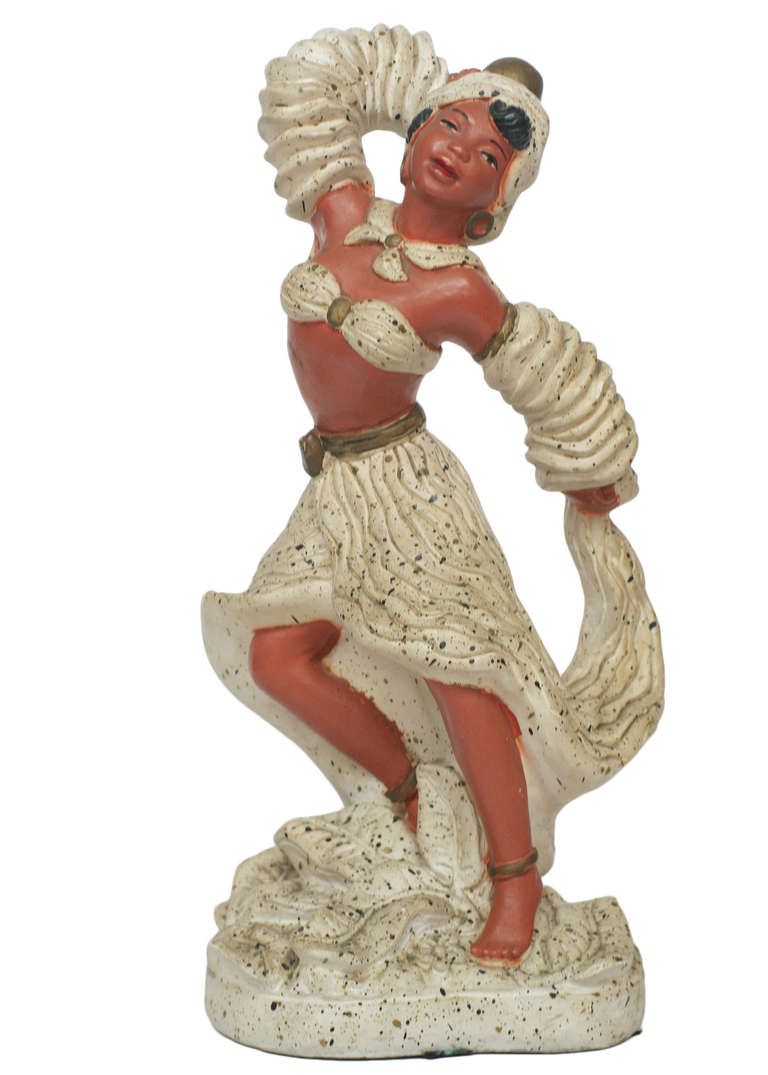 Pair of 1955 Cuban Chalk Ware Statue In Excellent Condition For Sale In Van Nuys, CA
