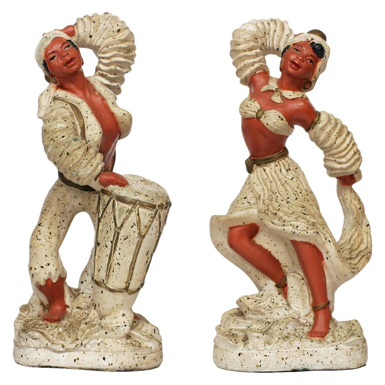 Pair of 1955 Cuban Chalk Ware Statue For Sale