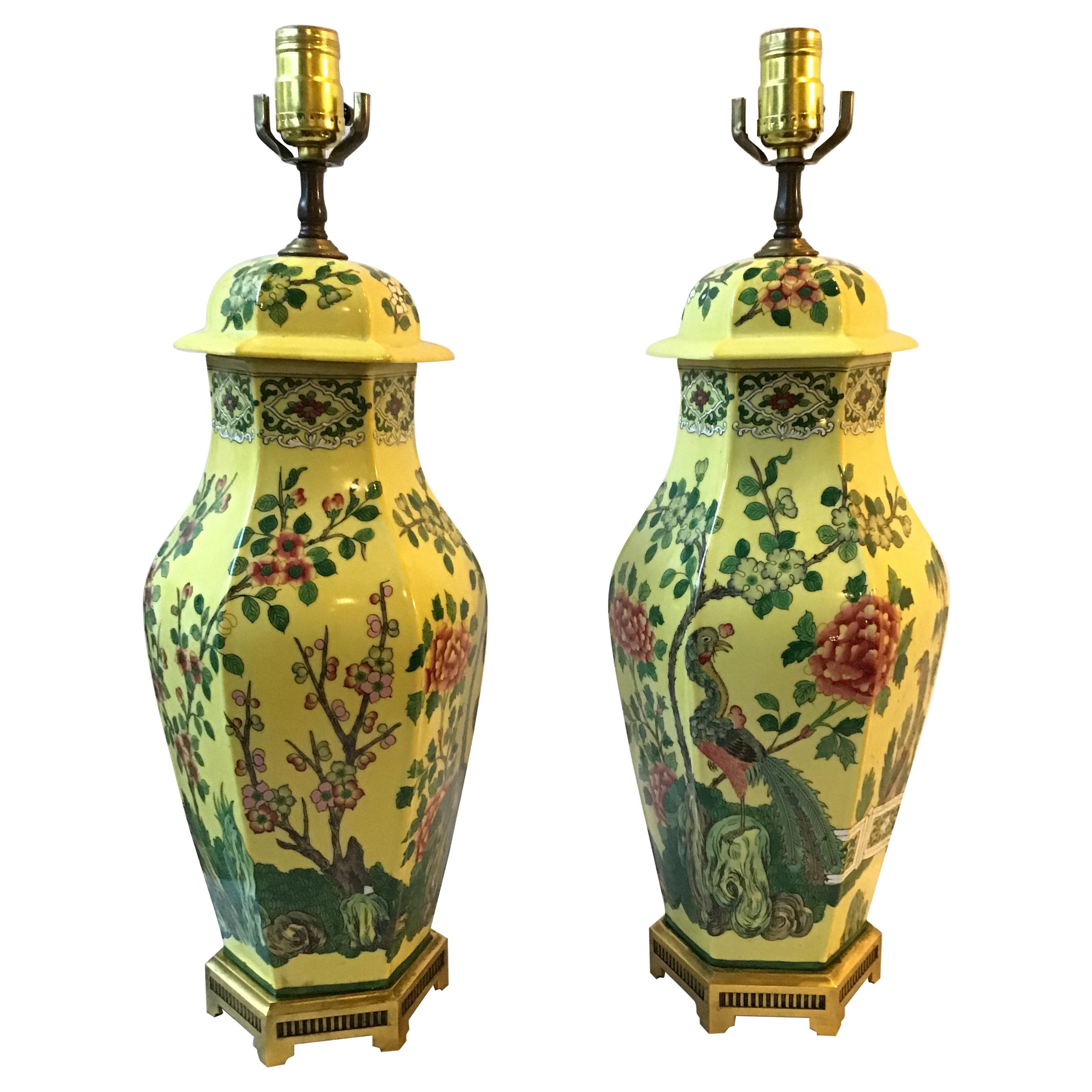 Pair of 1960s Hand Painted Ceramic Peacock Table Lamps On Brass Bases