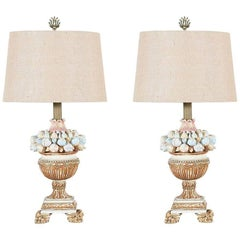 Pair of 1960s, Italian Painted and Parcel Giltwood Lamps