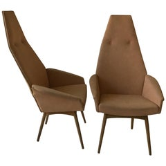 Pair of 1960s Adrian Pearsall Tall High Back Chairs