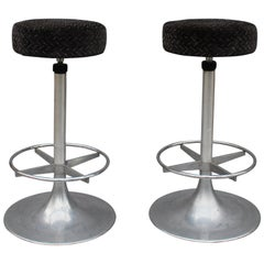 Pair of 1960s Aluminum Bar Stools