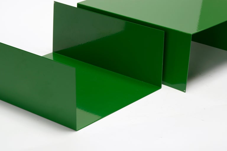 American Pair of 1960s Aluminum Paper Trays or Bookends Refinished in Kelly Green For Sale