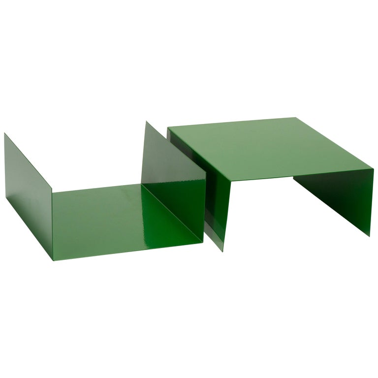 Pair of 1960s Aluminum Paper Trays or Bookends Refinished in Kelly Green For Sale