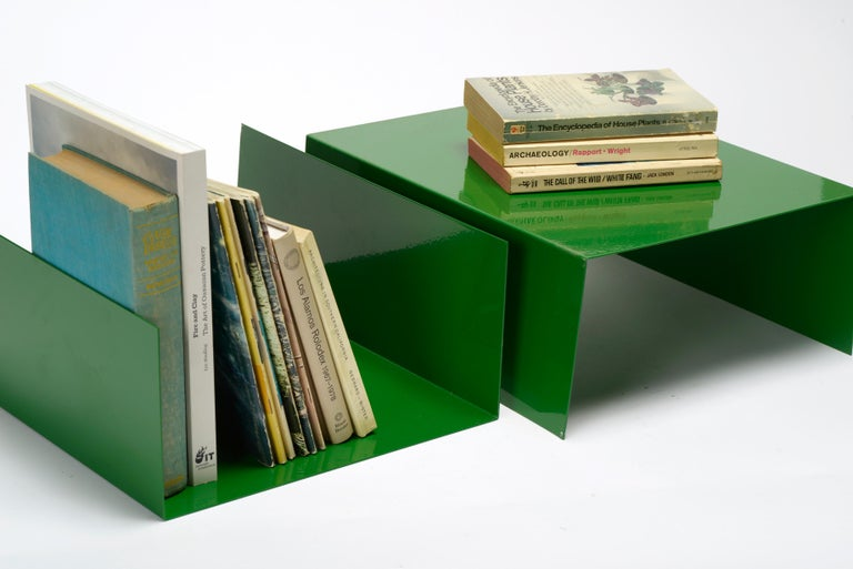 We reclaimed these midcentury aluminum trays for creative use in your office or living room. Use them as organizers to stack books or papers; use them as displays and stand a selection of books between each end; use them as bookends on a shelf. You