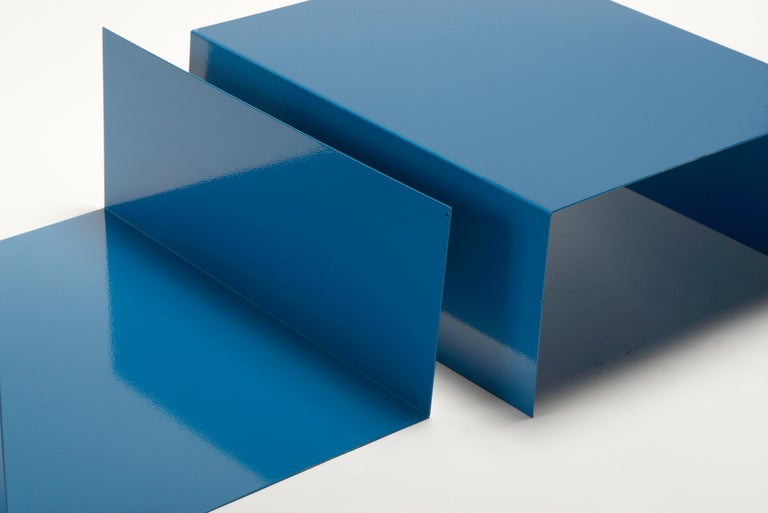Powder-Coated Pair of 1960s Aluminum Paper Trays or Bookends Refinished in Moon Blue