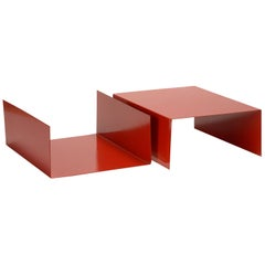 Pair of 1960s Aluminum Paper Trays or Bookends Refinished in Red
