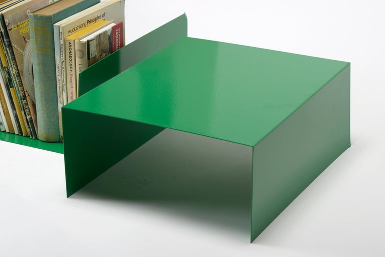 Mid-Century Modern Pair of 1960s Aluminum Paper Trays or Bookends Refinished in Winter Green For Sale