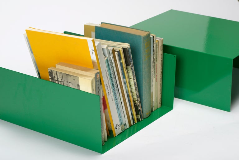 American Pair of 1960s Aluminum Paper Trays or Bookends Refinished in Winter Green For Sale