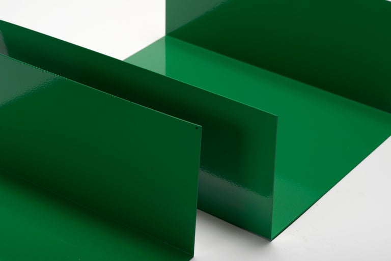 Powder-Coated Pair of 1960s Aluminum Paper Trays or Bookends Refinished in Winter Green For Sale
