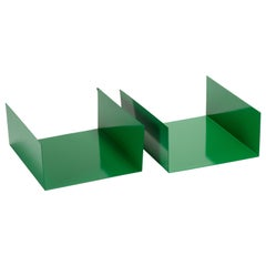 Pair of 1960s Aluminum Paper Trays or Bookends Refinished in Winter Green