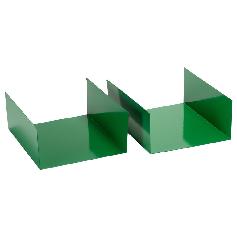 Pair of 1960s Aluminum Paper Trays or Bookends Refinished in Winter Green For Sale